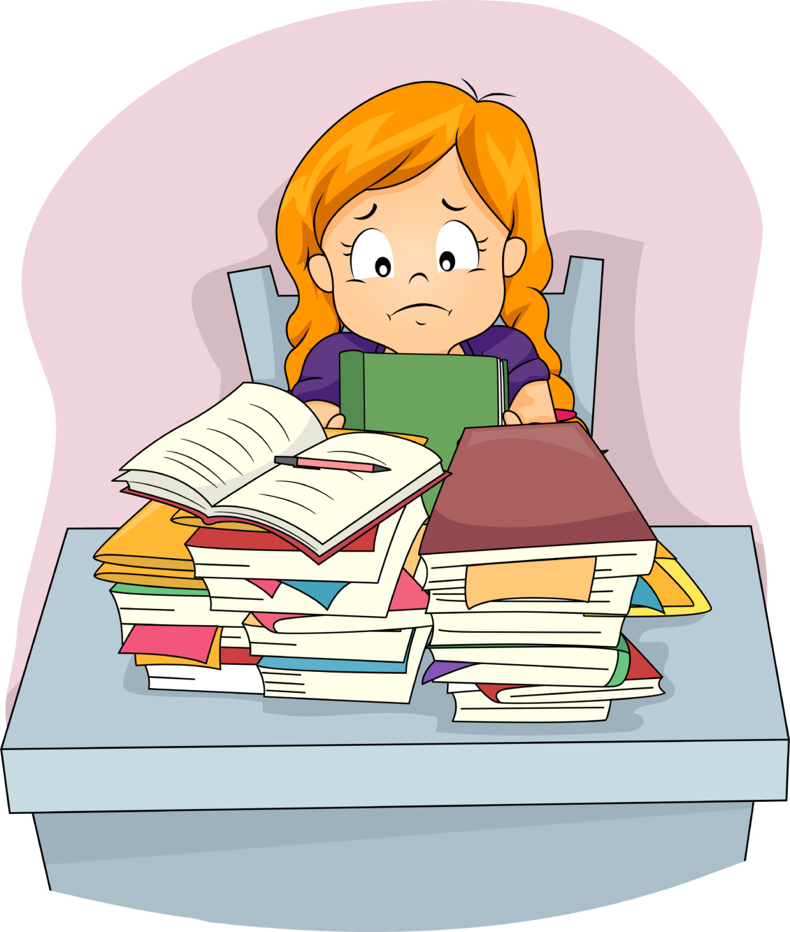 Girl sitting behind stacks of books looking confused