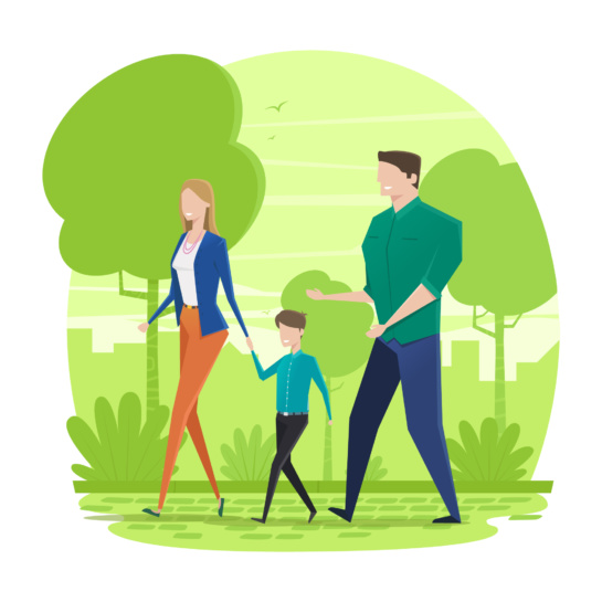 Mother, son, father walking in park