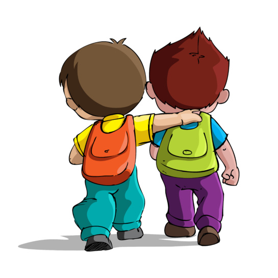 two little boys with backpacks walking away