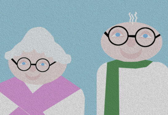 grandmother with pink scarf and grandfather with green scarf