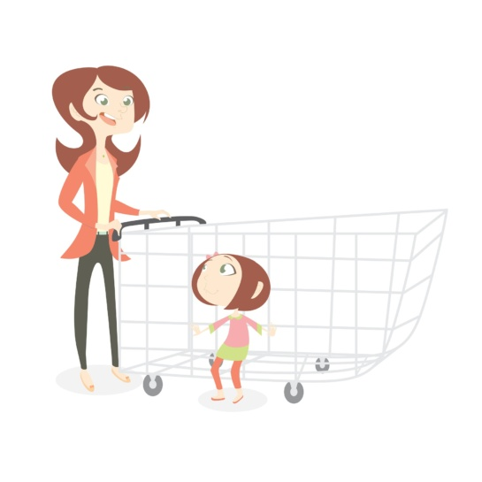 Mother and daughter with shopping cart