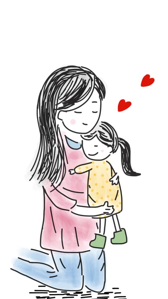 mother on knees holder little girl